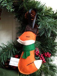 Hand-stitched fox Christmas ornament. Sleepy Little Fox Handmade Felt Ornament - by Audrey Miller Art