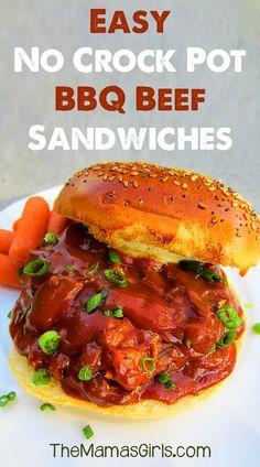 Easy No Crock Pot BBQ Beef Sandwiches