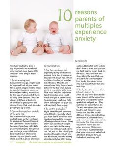 10 Reasons Parents of Multipes Experience Anxiety!  Learn more in Twiniversity's latest issue of Multiplicity!