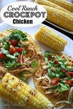 Looking for an insanely easy dinner? This is it-- Only 4 ingredients, and 5 hours on low in the crockpot. This chicken would be great on tostadas, tacos, salads, etc. These were slightly salty (for my taste) because of the packaged seasoning, but the flavor is great, and both of us devoured our plates. Perfect family weeknight meal! (Cool Ranch Crockpot Chicken)