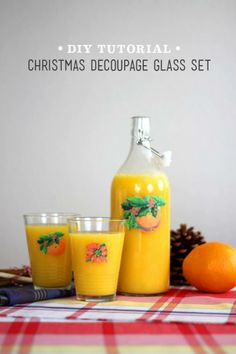 DIY Christmas Juice Glass Set