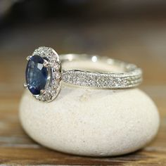 Halo Diamond and Natural Blue Sapphire Ring 18k White Gold Vintage Style Engagement Ring 8x6mm Oval Gem (Ready to Ship Size 6) on Etsy, $2,368.00