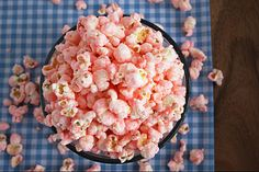 I MUST try this! (I'll skip the pink though)    Old Fashioned Pink Popcorn    Ingredients:  2/3 cup popcorn kernels, popped  2 cups granulated sugar  2/3 cup half and half  1 Tbsp light corn syrup  1/4 tsp salt  1 tsp vanilla  6 drops red food coloring (or any other color you'd like)