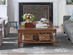 Large coffee tables add storage space, and decorative iron fireplace screens are a cool design detail #hgtvmagazine http://www.hgtv.com/living-rooms/the-forgotten-living-room/pictures/page-6.html?soc=pinterest