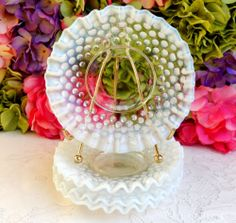 4 Beautiful Vintage Fenton Glass French Opalescent Hobnail Plates