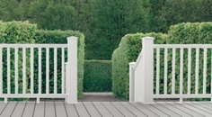 Trex white railing and gray decking