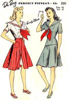 1940s DuBarry 5351 - Sailor Blouse, Culotte, Skirt Pattern - Size 16. $34.95, via Etsy.