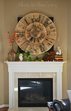 Nature inspired fall mantel, Rustic fall mantel - Whats Ur Home Story