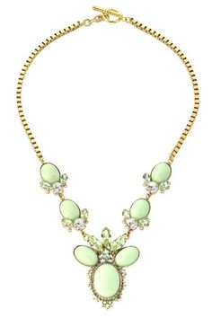 Mint floral & leaf necklace from charm & chain