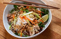 Cold rice noodles with chicken & peanut sauce - can be made mostly in advance - NY Times