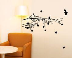 wall art, branch wall, leav wall, wall decals, art decal, fall leav, side branch, branches, falling leaves