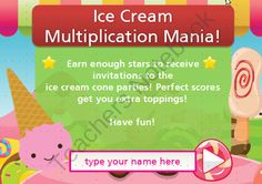 Ice Cream Party - Multiply by 7s - App for school computers from SpellingPackets com on TeachersNotebook.com -  (15 pages)  - Computer app for students to learn the 7s times tables with an ice cream party theme. This is a computer App, NOT a phone/table app. You download the files to your computer and use the app from the PC