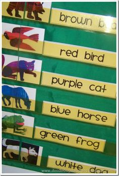 Brown Bear Brown Bear retelling and pocket chart strips....this is great for identifying and recognizing color words. 