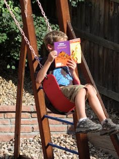 Change up your child's Reading Routine!  Have your child read on a swing....and many other suggestions for creating a Reading Challenge for your child.
