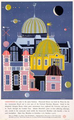 london poster, vintage posters, fire earth, greenwich observatori, transport museum, london transport, kenton 1962, 1962warren kenton, illustr