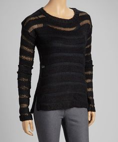 Black Sheer-Stripe Sweater #zulily #ad *want