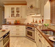 Traditional Island Style Cream kitchen, cream cabinets,
