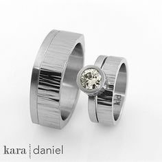 vintage diamond, bezel-set in stainless steel engagement ring. cross-hammered wedding bands. by kara | daniel, via Flickr