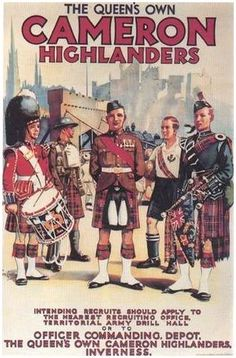 Recruiting Poster for the Queen's Own Cameron Highlanders circa. 1938.