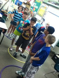 Kinesthetic way to teach multiplication with equal groups. Hula hoops on the floor with kids inside.