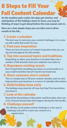 8 Steps to Fill Your Fall Content Calendar #contentcalendar