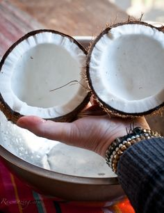 Raw Coconuts- opening and making coconut milk.