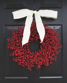 Rustic Red Berry Wreath Christmas Wreath Burlap by elegantholidays, $80.00