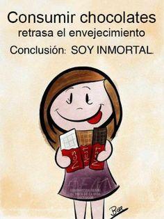 Para nuestras amigas inmortales! chocolates, consumir chocol, funni, chocol retrasa, humor, soy inmort, frase, quot, chist