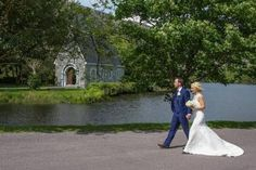 Lou and Johnny walking to St. Finbarr's Oratory, Gougane Barra to get married. The church is only a 2 minute walk from Gougane Barra Hotel