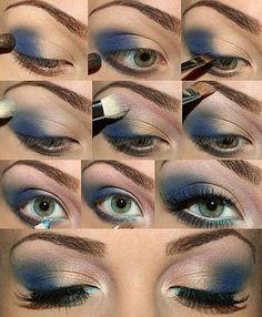 Ojos ahumados en color azul. Busca más maquillaje de ojos en http://mipagina.1001consejos.com/