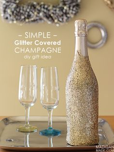 "Simple glitter covered champagne bottle - a fun and easy way to ""wrap"" a bottle for a hostess gift."