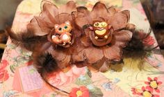 Forest fox heart owl Rockabilly Flower Set by SideShowCouture, $3.00