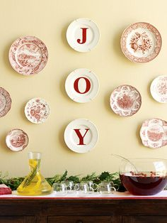 red Christmas plates