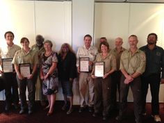 The award winning rangers with NT Administrator Sally Thomas and NT Minister Bess Price (fourth and fifth from left). Bill is pictured beside Minister Price.
