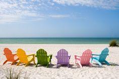 beach chairs, adirondack chairs, gulf shores, summer vacations, color, at the beach, beach life, sanibel island, orange beach