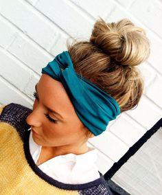 Teal Turban Headband Stretch Jersey Twist Headband - Turban Wide Hippie Boho Headband head bands Hair Coverings