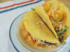 3 Ingredient Crock Pot Tacos- just 3 ingredients, 1 Crock Pot, & 6 hours to the best taco meat ever! via Frugal Foodie Mama