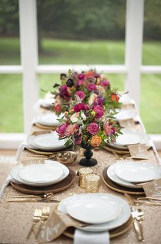 Great table setting for Thanksgiving or Fall Dinner Party