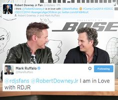 Mark Ruffalo finally confesses his love for Robert Downey Jr. on his Twitter,  at San Diego Comic Con, July 26, 2014.