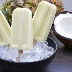 Pina Colada Creamsicle with fresh pineapple, coconut milk, and rum extract.