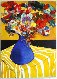 Each student made their own flower, first by drawing with a sharpie, then collaged with tissue paper and glitter paint. I created the background and vase with oil paint, on canvas, for the wonderful bouquet of flowers. After cutting out the flowers, I glued the flowers down with modge podge.