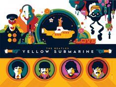 Beatles YELLOW SUBMARINE print by Tom Whelan