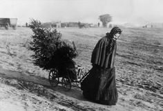 A woman returns home from the market with a Christmas tree, 1895