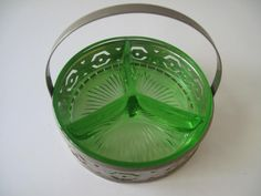 Green Depression Glass Divided Dish with Metal Holder
