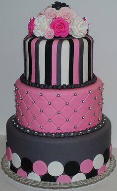 Pink and Grey Wedding Cake