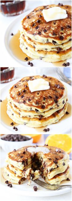 Orange Ricotta Chocolate Chip Pancakes Recipe on twopeasandtheirpod.com Light and fluffy pancakes that are a great breakfast treat!