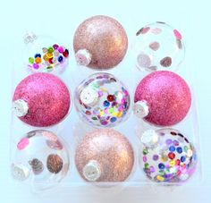 Glitter and sequin ornaments.  Adapt them with your wedding or celebration colors.