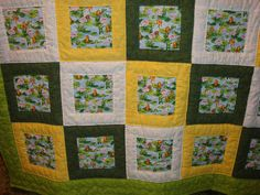 Quilt, yellow, green & white, with frogs print by strngwoodlndcreature, via Flickr