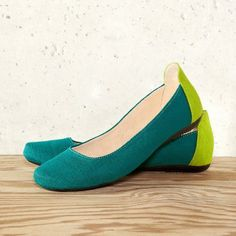 Fair Trade Light Emerald Ballet Flat Shoes by The Root Collective