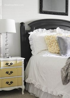 """I love the night stand, I'm in love with a grey and yellow color scheme for a room. """"herwin Williams Pebble Grey wall paint"""""""